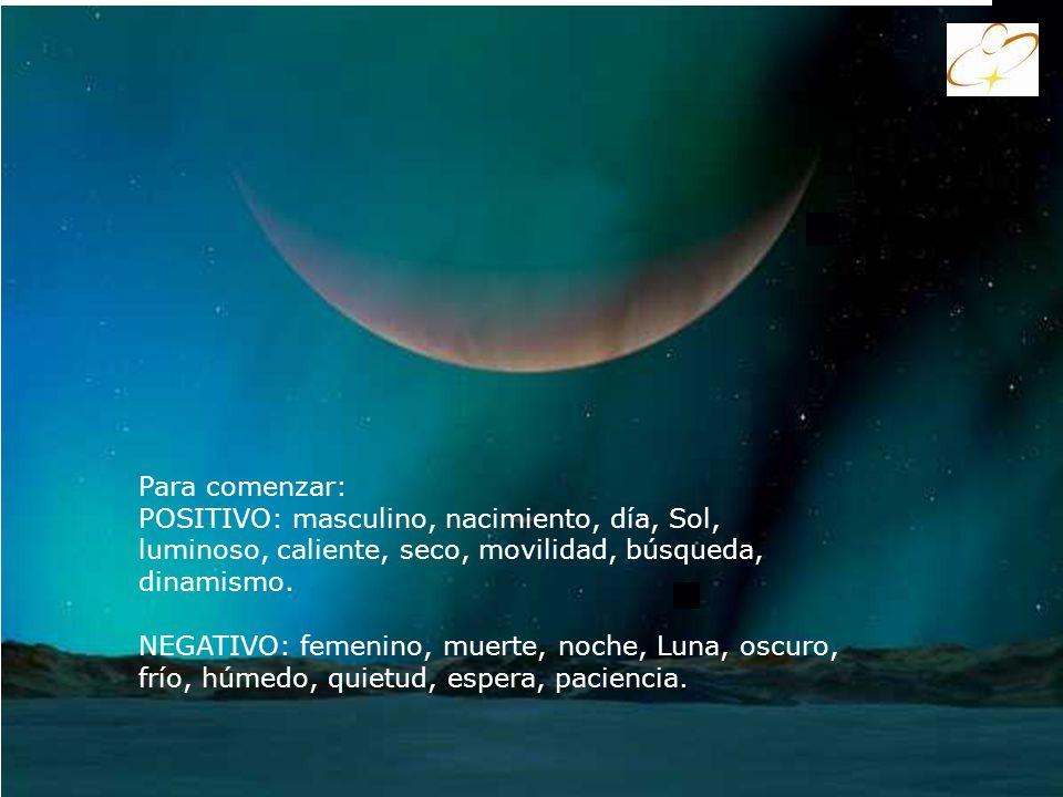 Para comenzar: POSITIVO: masculino, nacimiento, día, Sol, luminoso, caliente, seco, movilidad, búsqueda, dinamismo.
