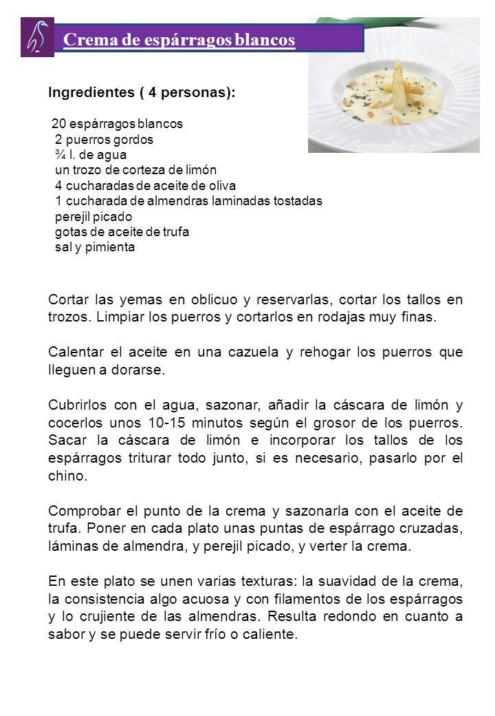 Ingredientes ( 4 personas): 20 espárragos blancos 2 puerros gordos ¾ l.
