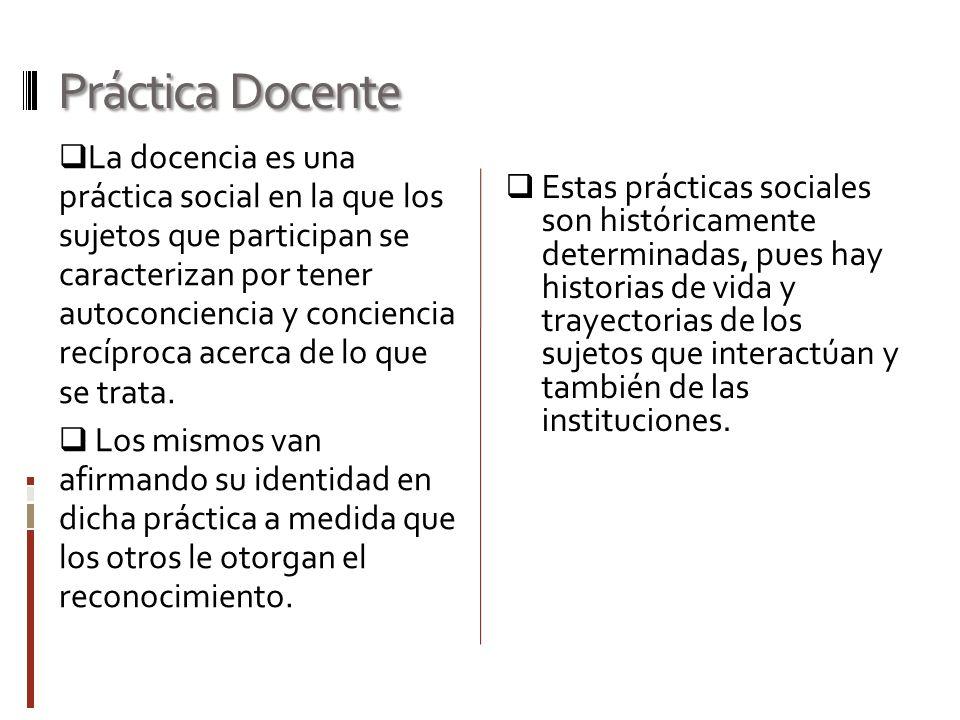 Práctica Docente  La docencia es una práctica social en la que los sujetos que participan se caracterizan por tener autoconciencia y conciencia recíproca acerca de lo que se trata.