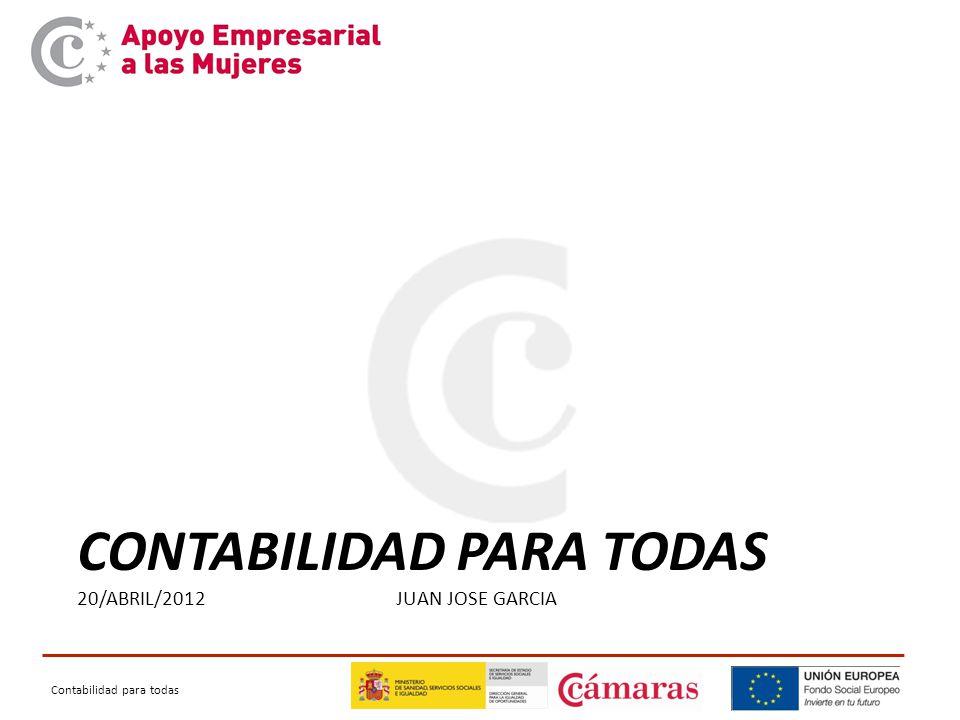 Contabilidad para todas CONTABILIDAD PARA TODAS 20/ABRIL/2012 JUAN JOSE GARCIA