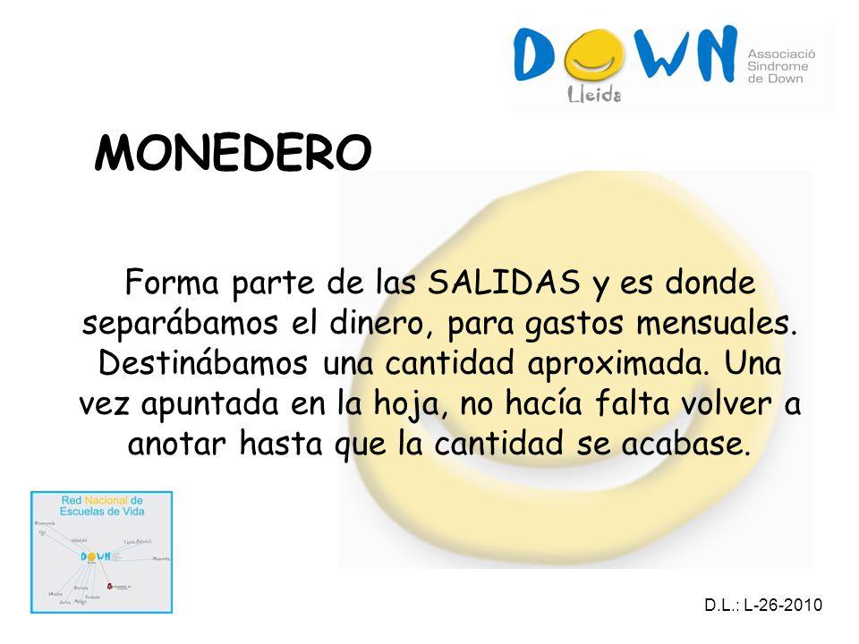 MONEDERO Forma parte de las SALIDAS y es donde separábamos el dinero, para gastos mensuales.