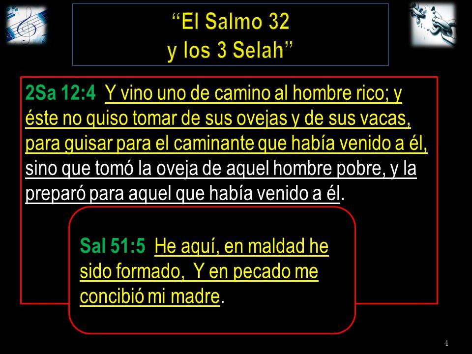 4 Sal. 32:1-2 Bienaventurado aquel cuya transgresión ha sido perdonada, y cubierto su pecado.