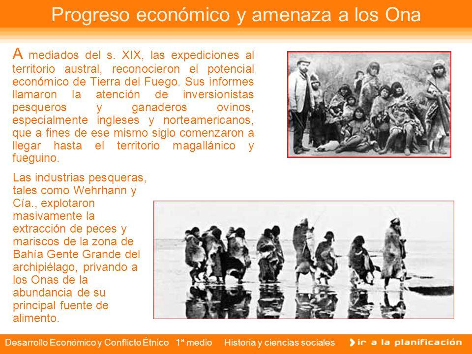 Desarrollo Económico y Conflicto Étnico 1ª medio Historia y ciencias sociales Intento de sobrevivencia Familia de Onas en una choza de cuero.