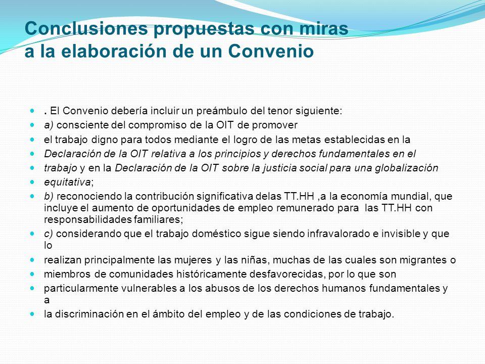 Conclusiones propuestas con miras a la elaboración de un Convenio.