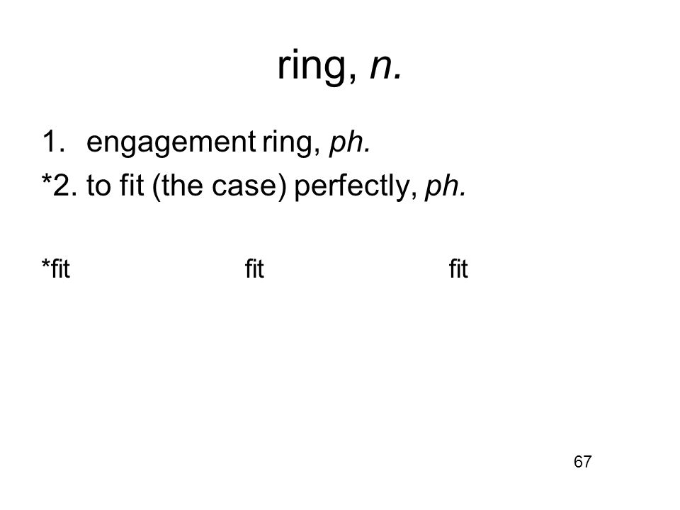 ring, n. 1.engagement ring, ph. *2.to fit (the case) perfectly, ph. *fitfitfit 67