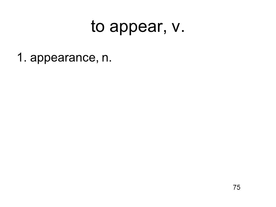 to appear, v. 1. appearance, n. 75
