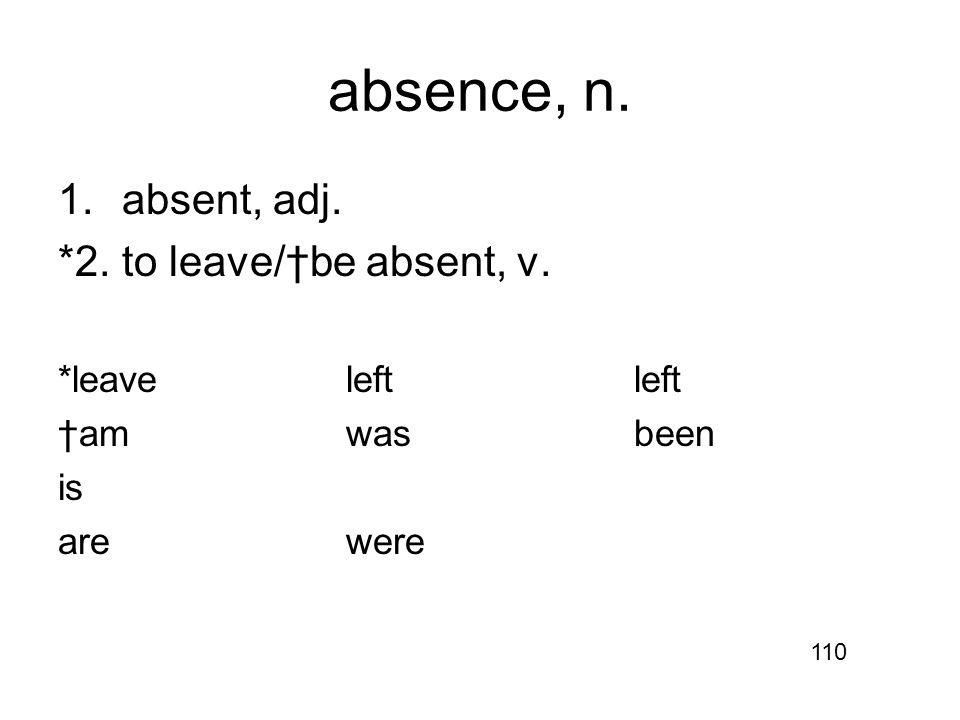 absence, n. 1.absent, adj. *2.to leave/†be absent, v. *leaveleftleft †amwasbeen is arewere 110