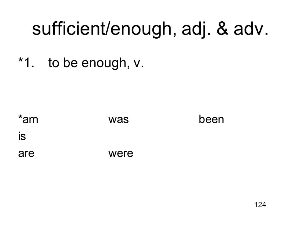 sufficient/enough, adj. & adv. *1.to be enough, v. *amwasbeen is arewere 124