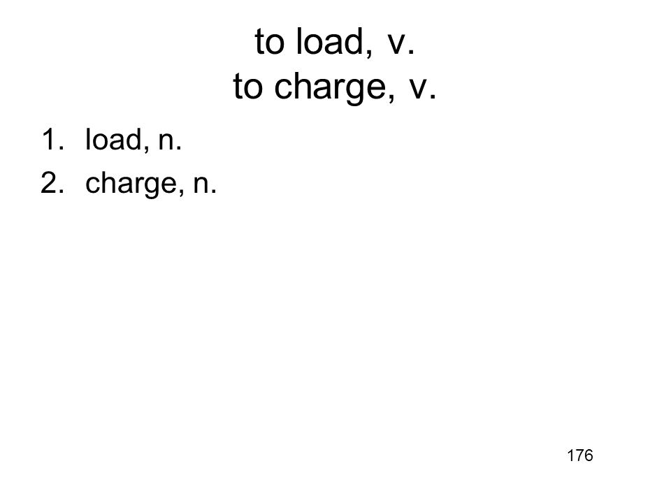 to load, v. to charge, v. 1.load, n. 2.charge, n. 176