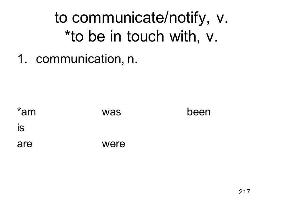 to communicate/notify, v. *to be in touch with, v. 1.communication, n. *amwasbeen is arewere 217