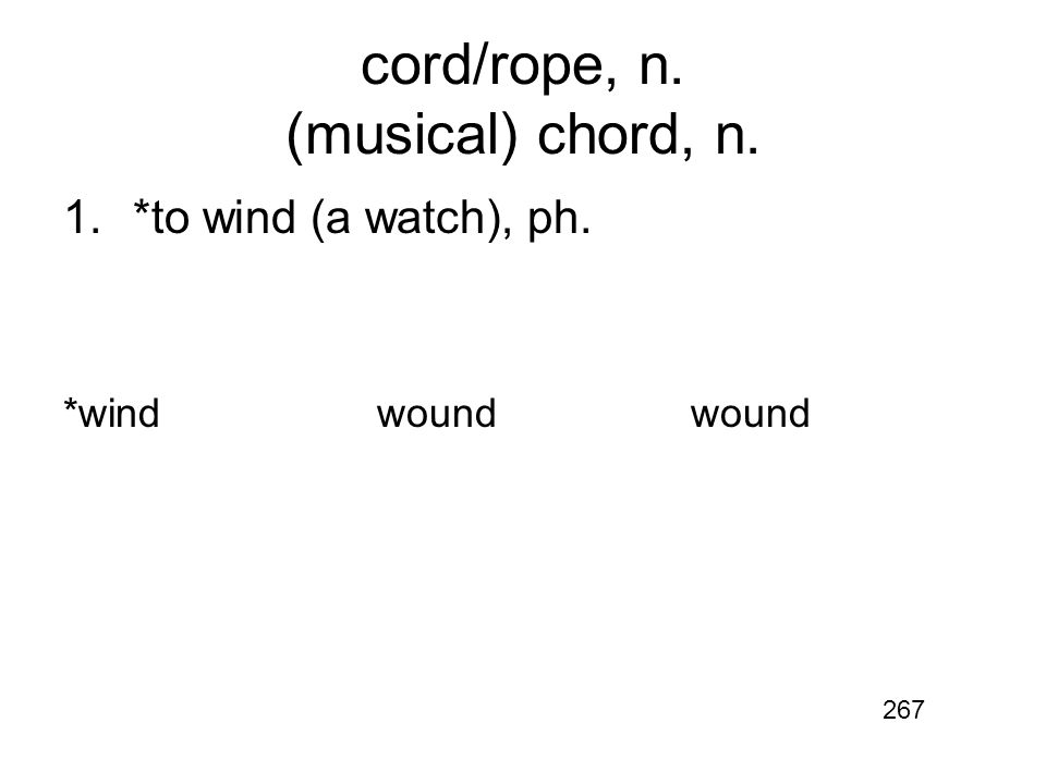 cord/rope, n. (musical) chord, n. 1.*to wind (a watch), ph. *windwoundwound 267