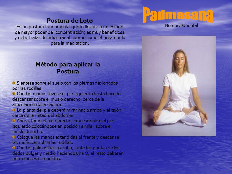 Postura de Loto Es un postura fundamental que lo llevará a un estado de mayor poder de concentración; es muy beneficiosa y debe tratar de adiestrar al cuerpo como el preámbulo para la meditación.