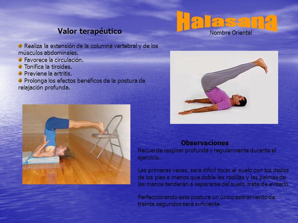 Valor terapéutico Realiza la extensión de la columna vertebral y de los músculos abdominales.