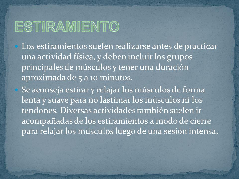 Los estiramientos suelen realizarse antes de practicar una actividad física, y deben incluir los grupos principales de músculos y tener una duración aproximada de 5 a 10 minutos.