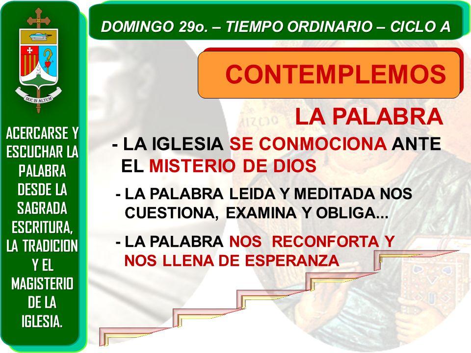 LA PALABRA CONTEMPLEMOS - LA IGLESIA SE CONMOCIONA ANTE EL MISTERIO DE DIOS - LA PALABRA LEIDA Y MEDITADA NOS CUESTIONA, EXAMINA Y OBLIGA...