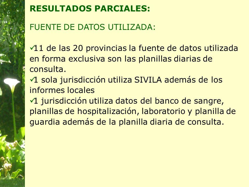 RESULTADOS PARCIALES: FUENTE DE DATOS UTILIZADA: 11 de las 20 provincias la fuente de datos utilizada en forma exclusiva son las planillas diarias de consulta.