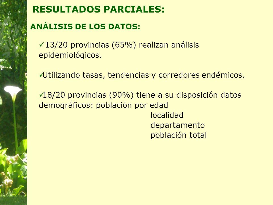 ANÁLISIS DE LOS DATOS: RESULTADOS PARCIALES: 13/20 provincias (65%) realizan análisis epidemiológicos.