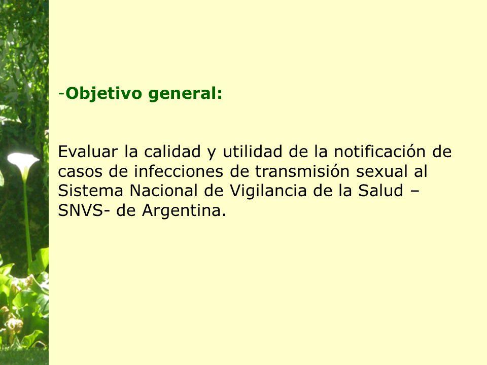 -Objetivo general: Evaluar la calidad y utilidad de la notificación de casos de infecciones de transmisión sexual al Sistema Nacional de Vigilancia de la Salud – SNVS- de Argentina.