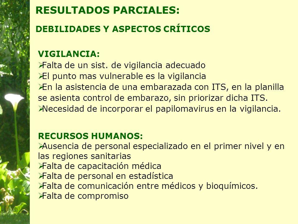 RESULTADOS PARCIALES: DEBILIDADES Y ASPECTOS CRÍTICOS VIGILANCIA:  Falta de un sist.