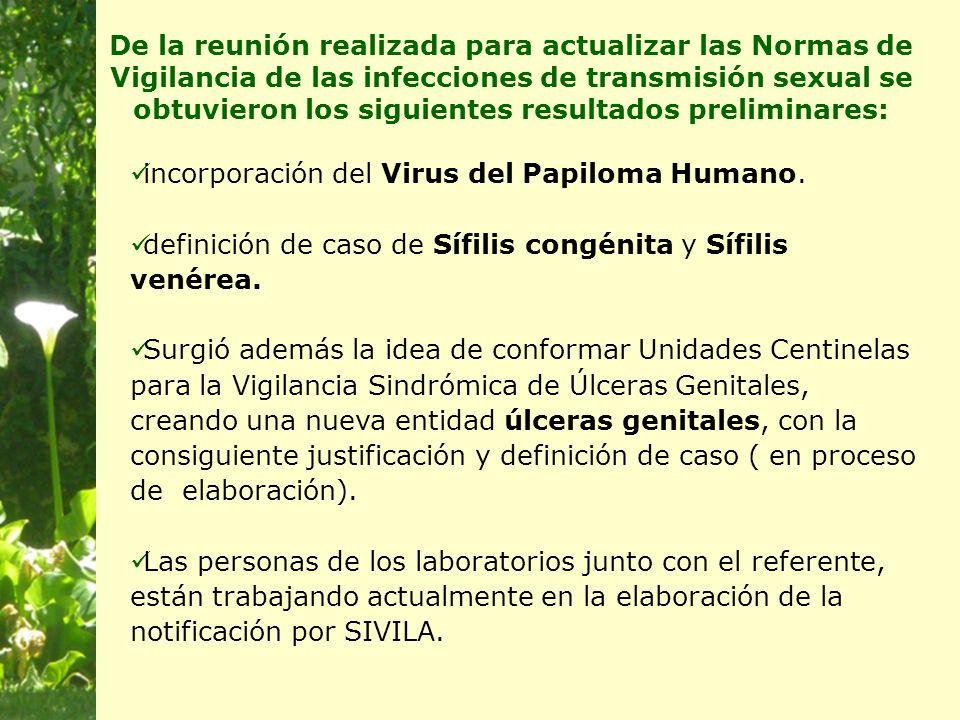De la reunión realizada para actualizar las Normas de Vigilancia de las infecciones de transmisión sexual se obtuvieron los siguientes resultados preliminares: incorporación del Virus del Papiloma Humano.