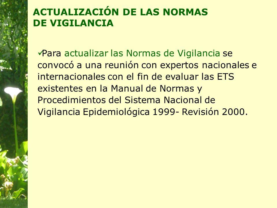 Para actualizar las Normas de Vigilancia se convocó a una reunión con expertos nacionales e internacionales con el fin de evaluar las ETS existentes en la Manual de Normas y Procedimientos del Sistema Nacional de Vigilancia Epidemiológica 1999- Revisión 2000.