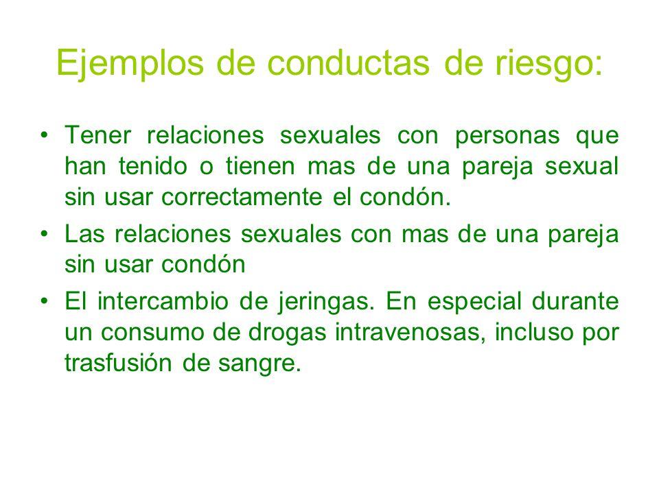 Ejemplos de conductas de riesgo: Tener relaciones sexuales con personas que han tenido o tienen mas de una pareja sexual sin usar correctamente el condón.