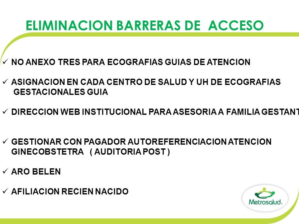 ELIMINACION BARRERAS DE ACCESO NO ANEXO TRES PARA ECOGRAFIAS GUIAS DE ATENCION ASIGNACION EN CADA CENTRO DE SALUD Y UH DE ECOGRAFIAS GESTACIONALES GUIA DIRECCION WEB INSTITUCIONAL PARA ASESORIA A FAMILIA GESTANTE GESTIONAR CON PAGADOR AUTOREFERENCIACION ATENCION GINECOBSTETRA ( AUDITORIA POST ) ARO BELEN AFILIACION RECIEN NACIDO