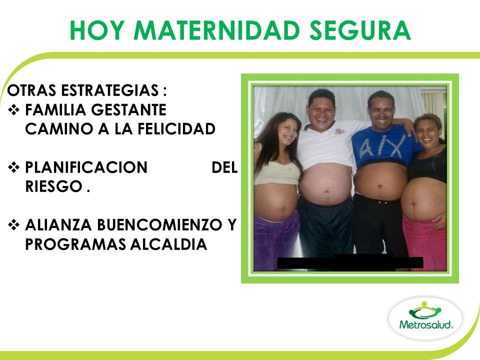 OTRAS ESTRATEGIAS :  FAMILIA GESTANTE CAMINO A LA FELICIDAD  PLANIFICACION DEL RIESGO.