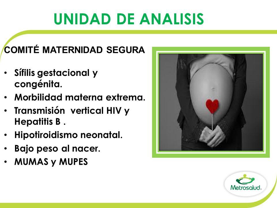 UNIDAD DE ANALISIS Sífilis gestacional y congénita.