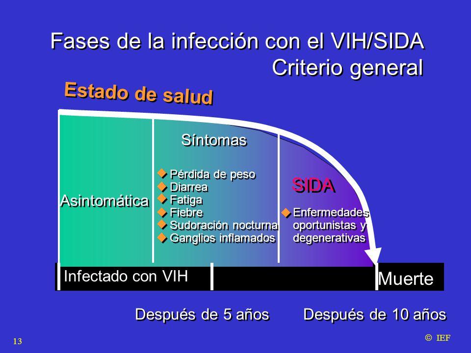 Fases de la infección con el VIH/SIDA Criterio general Fases de la infección con el VIH/SIDA Criterio general Estado de salud Asintomática Síntomas SIDA Infectado con VIH Muerte Después de 5 años Después de 10 años Pérdida de peso Diarrea Fatiga Fiebre Sudoración nocturna Ganglios inflamados Pérdida de peso Diarrea Fatiga Fiebre Sudoración nocturna Ganglios inflamados Enfermedades oportunistas y degenerativas Enfermedades oportunistas y degenerativas  IEF 13