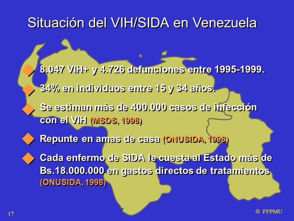 Situación del VIH/SIDA en Venezuela 8.047 VIH+ y 4.726 defunciones entre 1995-1999.