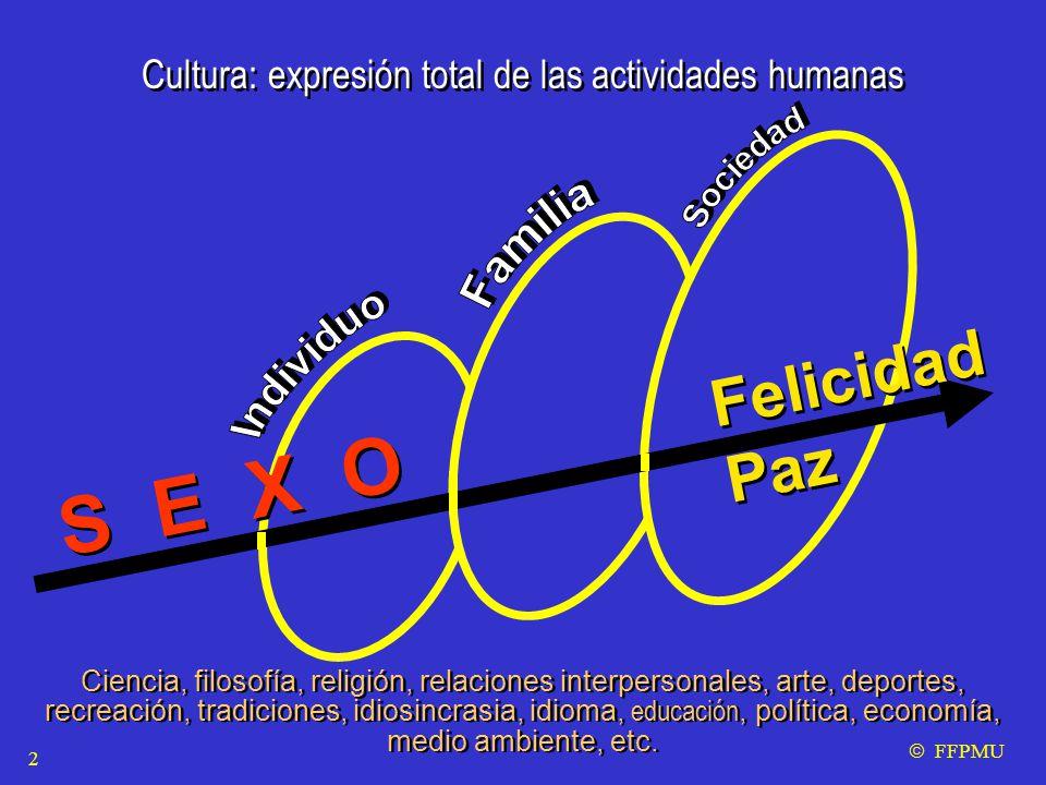 Cultura: expresión total de las actividades humanas S E X O Ciencia, filosofía, religión, relaciones interpersonales, arte, deportes, recreación, tradiciones, idiosincrasia, idioma, educación, política, economía, medio ambiente, etc.