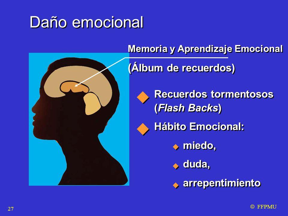 Daño emocional Memoria y Aprendizaje Emocional ( Álbum de recuerdos) Memoria y Aprendizaje Emocional ( Álbum de recuerdos) Recuerdos tormentosos (Flash Backs) Hábito Emocional: miedo, duda, arrepentimiento Recuerdos tormentosos (Flash Backs) Hábito Emocional: miedo, duda, arrepentimiento  FFPMU 27