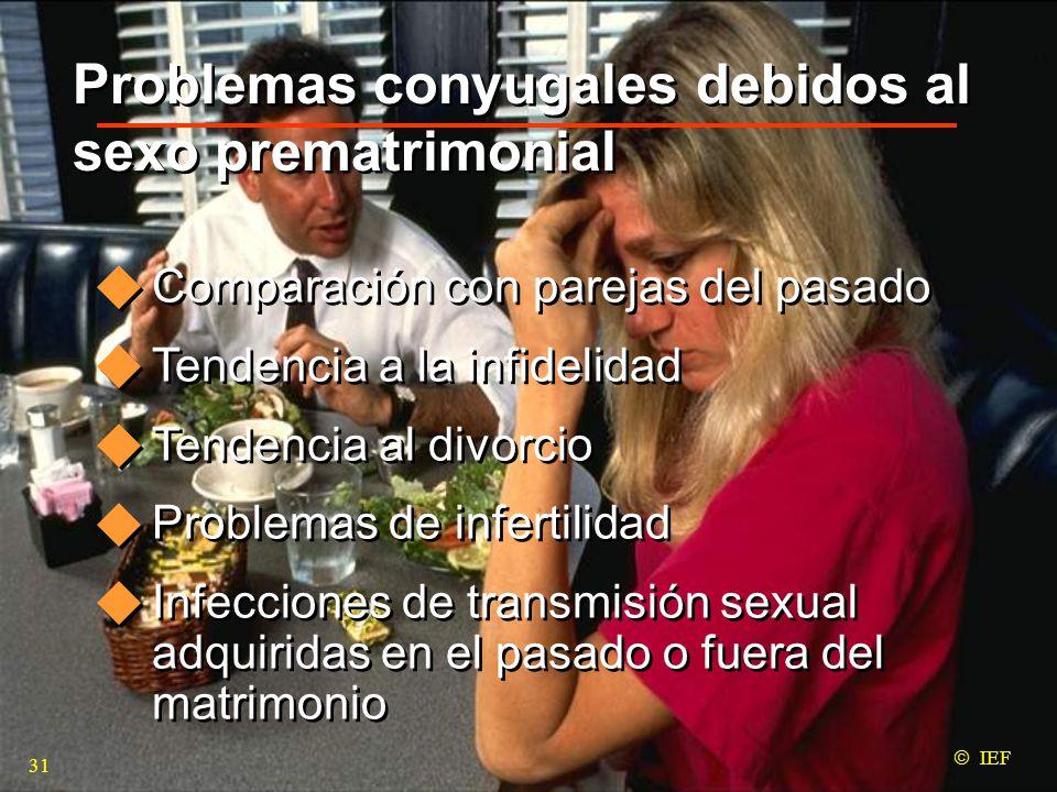 Problemas conyugales debidos al sexo prematrimonial Comparación con parejas del pasado Tendencia a la infidelidad Tendencia al divorcio Problemas de infertilidad Infecciones de transmisión sexual adquiridas en el pasado o fuera del matrimonio Comparación con parejas del pasado Tendencia a la infidelidad Tendencia al divorcio Problemas de infertilidad Infecciones de transmisión sexual adquiridas en el pasado o fuera del matrimonio  IEF 31