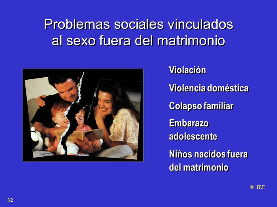 Problemas sociales vinculados al sexo fuera del matrimonio Problemas sociales vinculados al sexo fuera del matrimonio Violación Violencia doméstica Colapso familiar Violación Violencia doméstica Colapso familiar  IEF Embarazo adolescente Niños nacidos fuera del matrimonio Embarazo adolescente Niños nacidos fuera del matrimonio 32