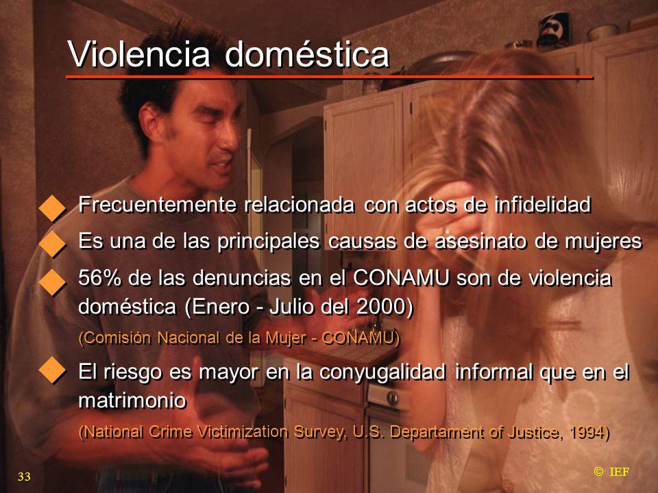 Violencia doméstica  IEF Frecuentemente relacionada con actos de infidelidad Es una de las principales causas de asesinato de mujeres 56% de las denuncias en el CONAMU son de violencia doméstica (Enero - Julio del 2000) (Comisión Nacional de la Mujer - CONAMU) El riesgo es mayor en la conyugalidad informal que en el matrimonio (National Crime Victimization Survey, U.S.