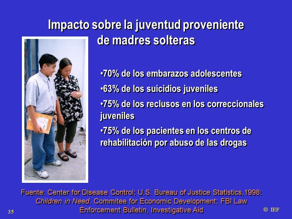 Impacto sobre la juventud proveniente de madres solteras Impacto sobre la juventud proveniente de madres solteras 70% de los embarazos adolescentes 63% de los suicidios juveniles 75% de los reclusos en los correccionales juveniles 75% de los pacientes en los centros de rehabilitación por abuso de las drogas 70% de los embarazos adolescentes 63% de los suicidios juveniles 75% de los reclusos en los correccionales juveniles 75% de los pacientes en los centros de rehabilitación por abuso de las drogas Fuente: Center for Disease Control; U.S.