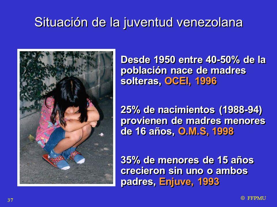Situación de la juventud venezolana Desde 1950 entre 40-50% de la población nace de madres solteras, OCEI, 1996 25% de nacimientos (1988-94) provienen de madres menores de 16 años, O.M.S, 1998 35% de menores de 15 años crecieron sin uno o ambos padres, Enjuve, 1993 Desde 1950 entre 40-50% de la población nace de madres solteras, OCEI, 1996 25% de nacimientos (1988-94) provienen de madres menores de 16 años, O.M.S, 1998 35% de menores de 15 años crecieron sin uno o ambos padres, Enjuve, 1993  FFPMU 37