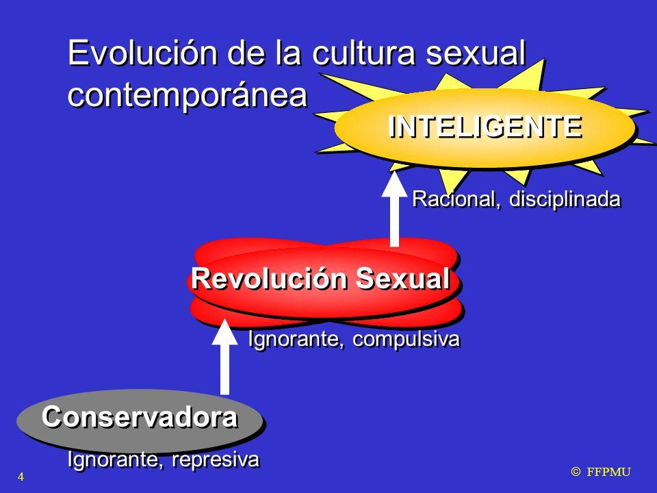 Evolución de la cultura sexual contemporánea Evolución de la cultura sexual contemporánea Conservadora Revolución Sexual INTELIGENTE Ignorante, represiva Ignorante, compulsiva Racional, disciplinada  FFPMU 4