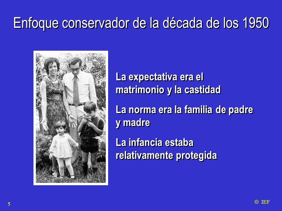 Enfoque conservador de la década de los 1950 La expectativa era el matrimonio y la castidad La norma era la familia de padre y madre La infancia estaba relativamente protegida La expectativa era el matrimonio y la castidad La norma era la familia de padre y madre La infancia estaba relativamente protegida  IEF 5