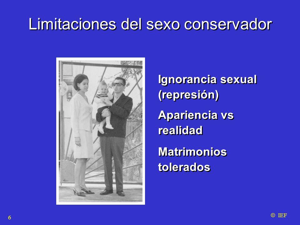 Limitaciones del sexo conservador Ignorancia sexual (represión)  IEF Apariencia vs realidad Matrimonios tolerados 6