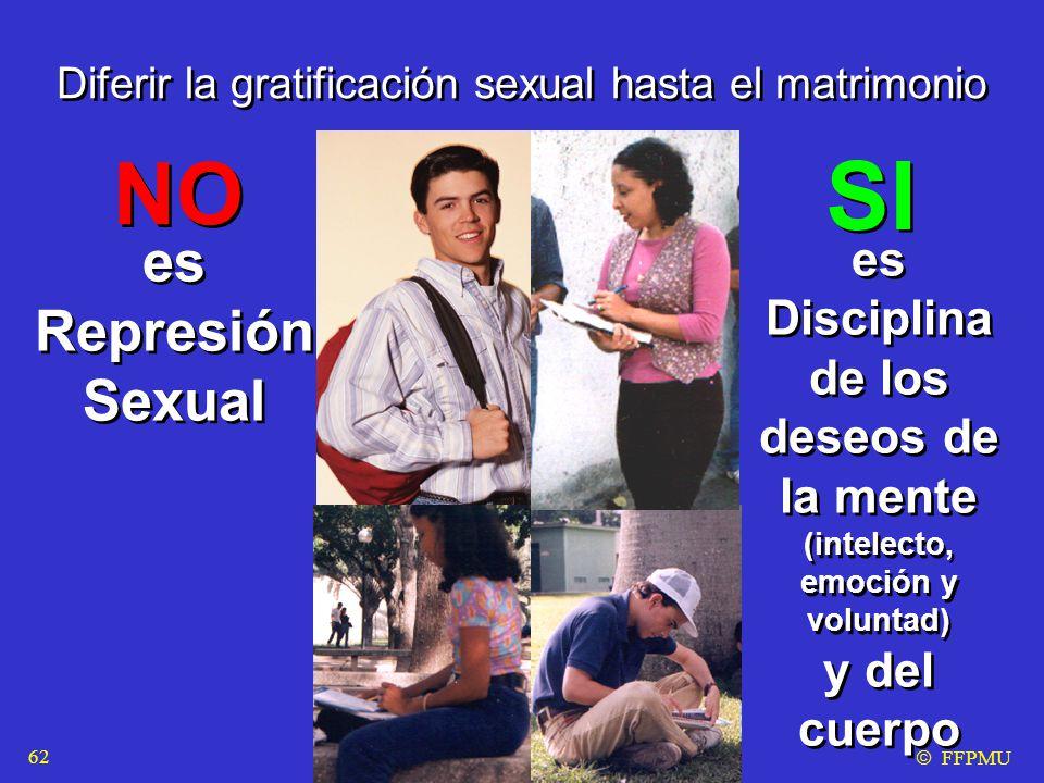 Diferir la gratificación sexual hasta el matrimonio es Disciplina de los deseos de la mente (intelecto, emoción y voluntad) y del cuerpo es Disciplina de los deseos de la mente (intelecto, emoción y voluntad) y del cuerpo NO SI es Represión Sexual es Represión Sexual  FFPMU 62
