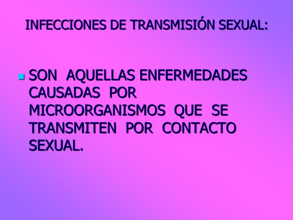 INFECCIONES DE TRANSMISIÓN SEXUAL: SON AQUELLAS ENFERMEDADES CAUSADAS POR MICROORGANISMOS QUE SE TRANSMITEN POR CONTACTO SEXUAL. SON AQUELLAS ENFERMED