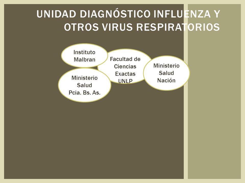 UNIDAD DIAGNÓSTICO INFLUENZA Y OTROS VIRUS RESPIRATORIOS Facultad de Ciencias Exactas UNLP Ministerio Salud Pcia.