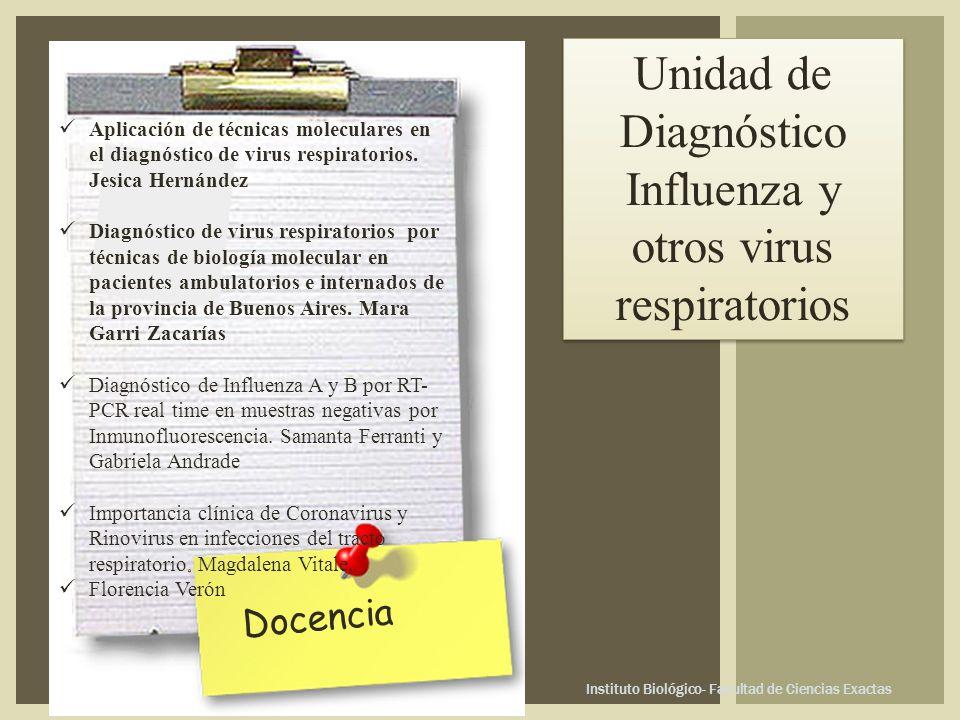 Instituto Biológico- Facultad de Ciencias Exactas Docencia Unidad de Diagnóstico Influenza y otros virus respiratorios