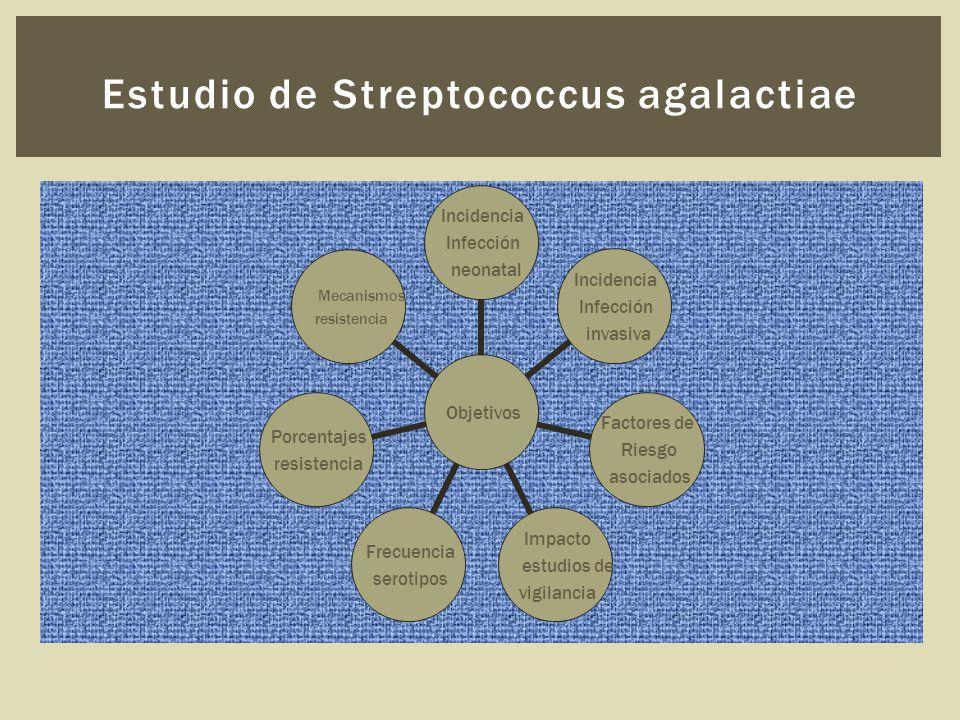Estudio de Streptococcus agalactiae Objetivos Incidencia Infección neonatal Incidencia Infección invasiva Factores de Riesgo asociados Impacto estudios de vigilancia Frecuencia serotipos Porcentajes resistencia Mecanismos resistencia