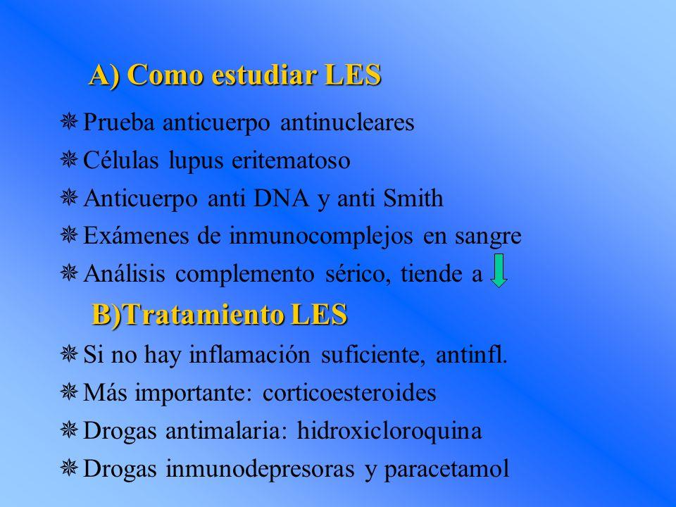 A) Como estudiar LES  Prueba anticuerpo antinucleares  Células lupus eritematoso  Anticuerpo anti DNA y anti Smith  Exámenes de inmunocomplejos en