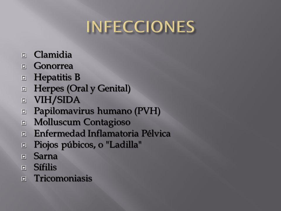  Clamidia  Gonorrea  Hepatitis B  Herpes (Oral y Genital)  VIH/SIDA  Papilomavirus humano (PVH)  Molluscum Contagioso  Enfermedad Inflamatoria Pélvica  Piojos púbicos, o Ladilla  Sarna  Sífilis  Tricomoniasis
