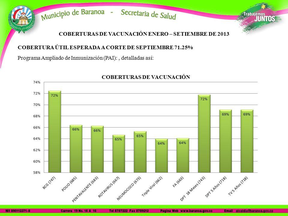 COBERTURAS DE VACUNACIÓN ENERO – SETIEMBRE DE 2013 COBERTURA ÚTIL ESPERADA A CORTE DE SEPTIEMBRE 71.25% Programa Ampliado de Inmunización (PAI):, detalladas así: COBERTURAS DE VACUNACIÓN