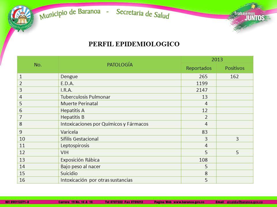 No.PATOLOGÍA 2013 ReportadosPositivos 1Dengue265162 2E.D.A.1199 3I.R.A.2147 4Tuberculosis Pulmonar13 5Muerte Perinatal4 6Hepatitis A12 7Hepatitis B2 8Intoxicaciones por Químicos y Fármacos4 9Varicela83 10Sífilis Gestacional33 11Leptospirosis4 12VIH55 13Exposición Rábica108 14Bajo peso al nacer5 15Suicidio8 16Intoxicación por otras sustancias5 PERFIL EPIDEMIOLOGICO